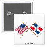 US and Dominican Republic Crossed Flags 2 Inch Square Button