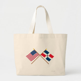 US and Dominican Republic Crossed Flags Canvas Bags