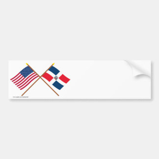 US and Dominican Republic Crossed Flags Bumper Sticker