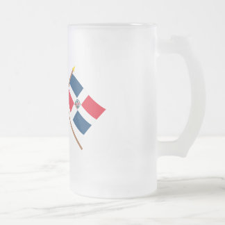 US and Dominican Republic Crossed Flags Frosted Glass Beer Mug