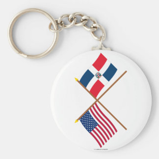 US and Dominican Republic Crossed Flags Keychain