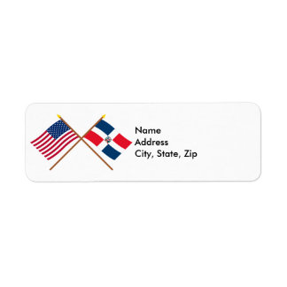 US and Dominican Republic Crossed Flags Label