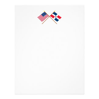 US and Dominican Republic Crossed Flags Letterhead Design