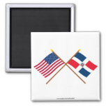 US and Dominican Republic Crossed Flags 2 Inch Square Magnet
