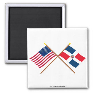 US and Dominican Republic Crossed Flags Refrigerator Magnet