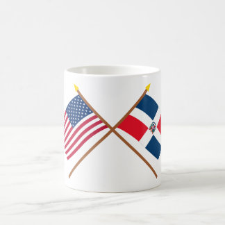 US and Dominican Republic Crossed Flags Classic White Coffee Mug