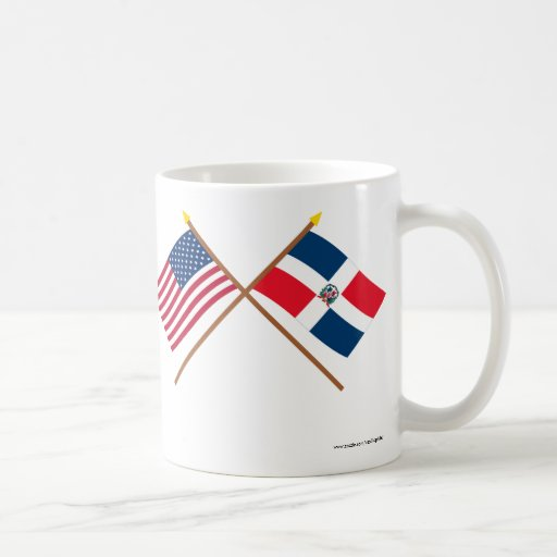 US and Dominican Republic Crossed Flags Coffee Mugs