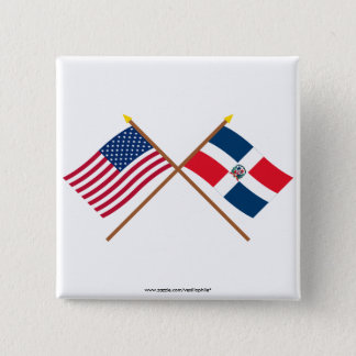 US and Dominican Republic Crossed Flags Pinback Button