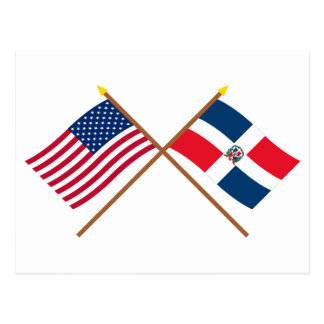 US and Dominican Republic Crossed Flags Postcard