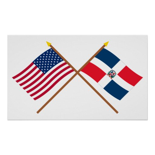 US and Dominican Republic Crossed Flags Poster