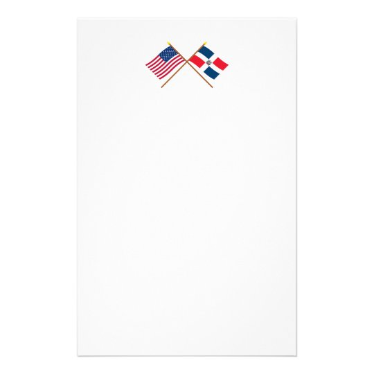 US and Dominican Republic Crossed Flags Stationery