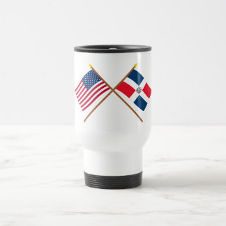 US and Dominican Republic Crossed Flags Travel Mug