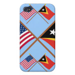 US and East Timor Crossed Flags Case For iPhone 4