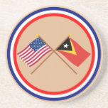 US and East Timor Crossed Flags Drink Coasters