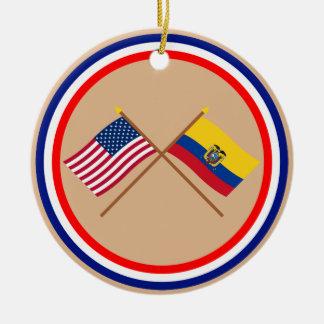 US and Ecuador Crossed Flags Ceramic Ornament