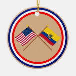 US and Ecuador Crossed Flags Christmas Tree Ornaments