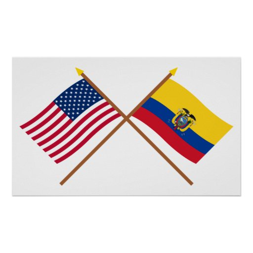 US and Ecuador Crossed Flags Poster