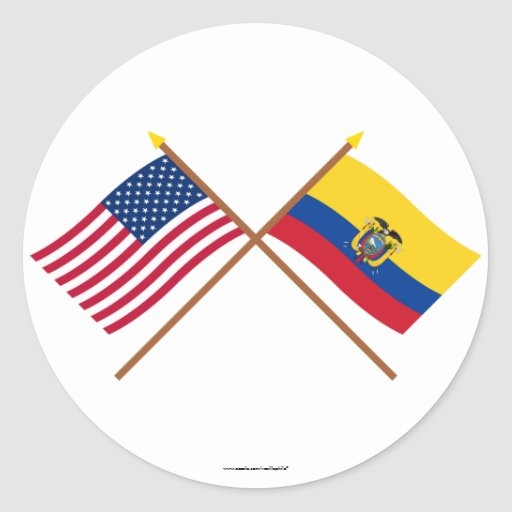 US and Ecuador Crossed Flags Sticker