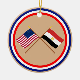 US and Egypt Crossed Flags Ceramic Ornament