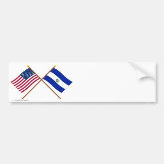 US and El Salvador Crossed Flags Bumper Sticker