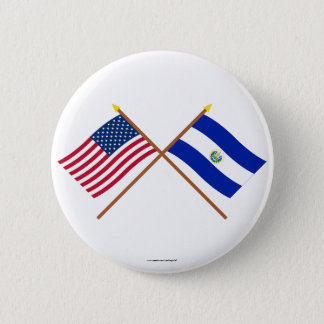 US and El Salvador Crossed Flags Button