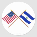 US and El Salvador Crossed Flags Classic Round Sticker