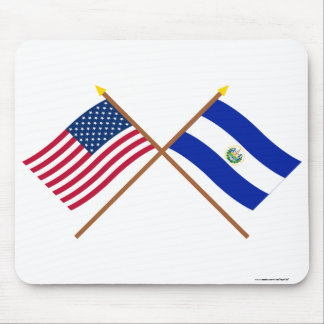 US and El Salvador Crossed Flags Mouse Pad