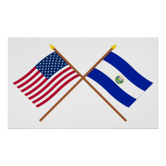 US and El Salvador Crossed Flags Poster