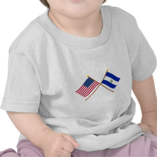 US and El Salvador Crossed Flags Tshirts