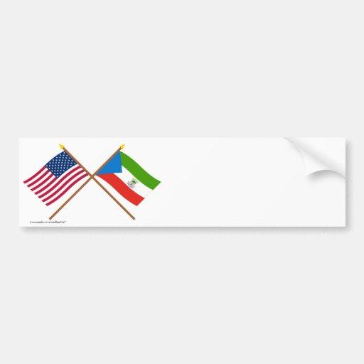 US and Equatorial Guinea Crossed Flags Bumper Sticker