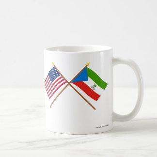 US and Equatorial Guinea Crossed Flags Classic White Coffee Mug