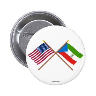 US and Equatorial Guinea Crossed Flags Pinback Button