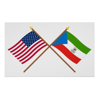 US and Equatorial Guinea Crossed Flags Poster
