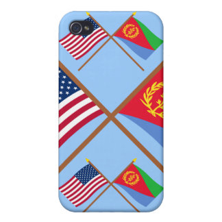 US and Eritrea Crossed Flags Case For iPhone 4