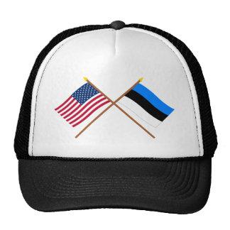 US and Estonia Crossed Flags Trucker Hat