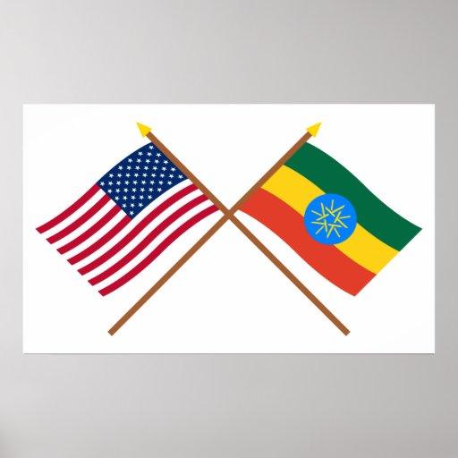 US and Ethiopia Crossed Flags Print