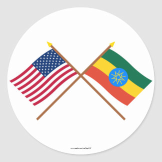 US and Ethiopia Crossed Flags Round Stickers