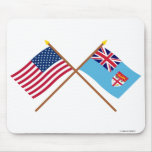 US and Fiji Crossed Flags Mouse Pad