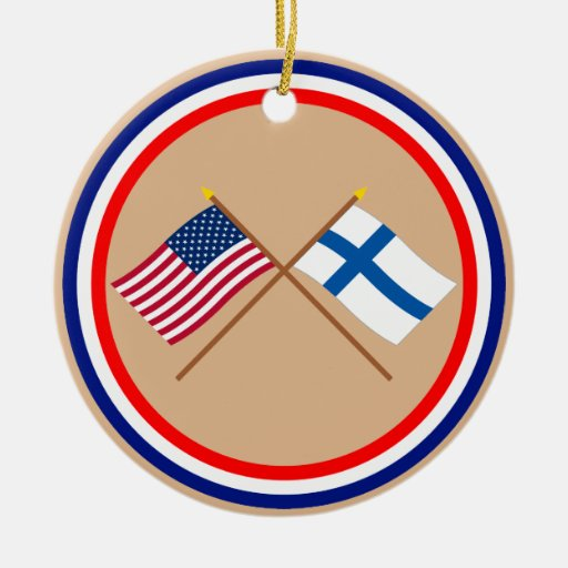 US and Finland Crossed Flags Double-Sided Ceramic Round Christmas Ornament