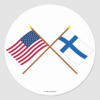 US and Finland Crossed Flags Stickers