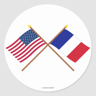 US and France Crossed Flags Classic Round Sticker