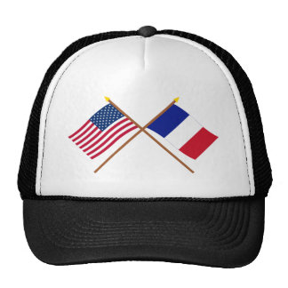 US and France Crossed Flags Mesh Hats
