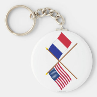 US and France Crossed Flags Keychain