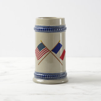 US and France Crossed Flags 18 Oz Beer Stein
