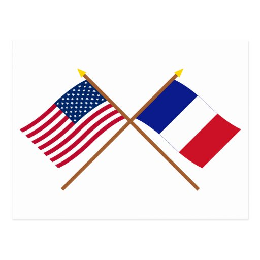 US and France Crossed Flags Postcards