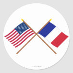 US and France Crossed Flags Sticker