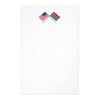 US and Gambia Crossed Flags Stationery