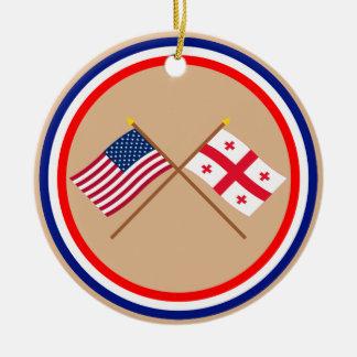 US and Georgia Republic Crossed Flags Ceramic Ornament