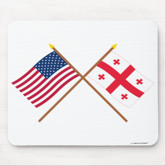 US and Georgia Republic Crossed Flags Mouse Pad