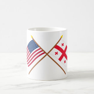 US and Georgia Republic Crossed Flags Mug